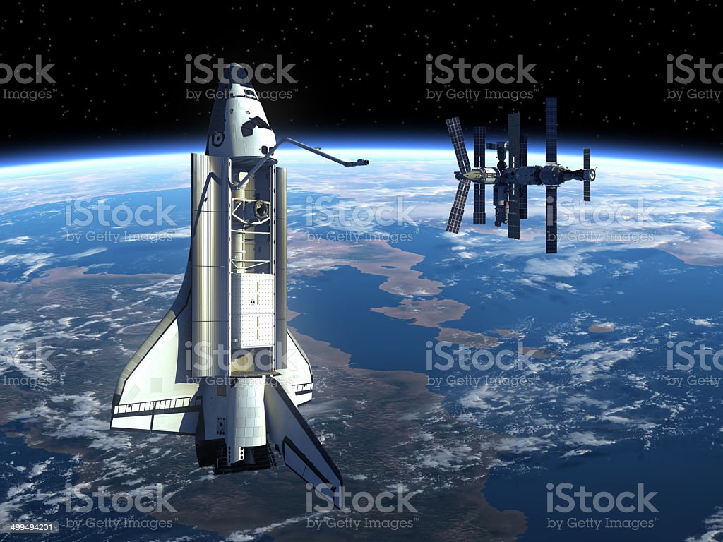 Space Station And Space Shuttle. stock photo