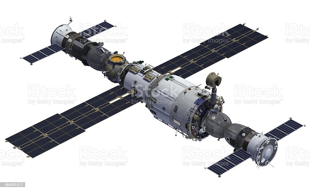 Space Station And Spacecrafts stock photo