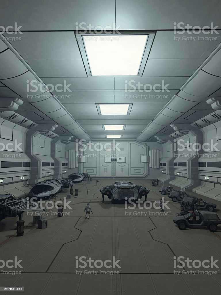 Space Station Hanger Deck stock photo