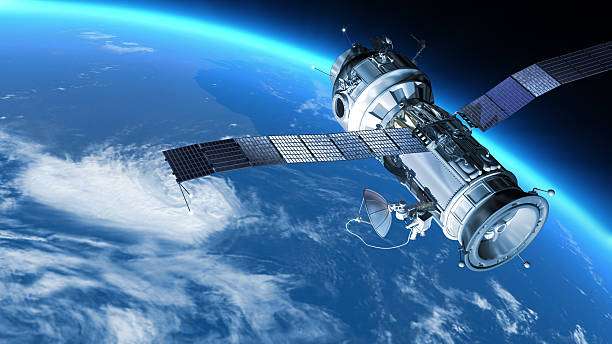 """Space station in Earth orbit. """"My design space station on Earth orbit. The satellite has severalcommunication  anten.Also it maybe SPY, GPS satelite."""" satellite view stock pictures, royalty-free photos & images"""