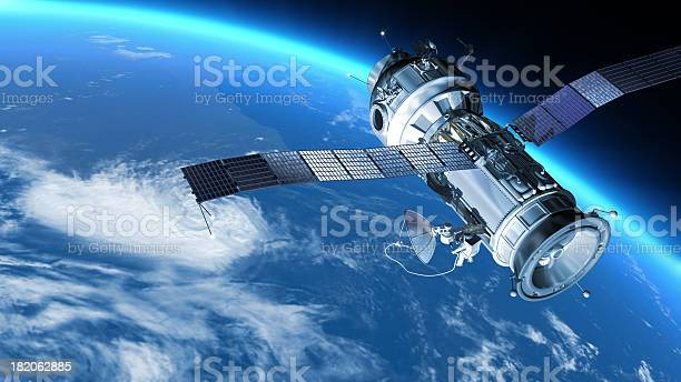 """My design space station on Earth orbit. The satellite has severalcommunication  anten.Also it maybe SPY, GPS satelite."""