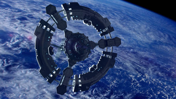 Space station in planet earth orbit. Space exploration. stock photo