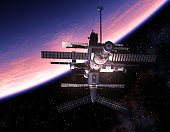 istock Space Station Orbiting Blue Planet 960851974