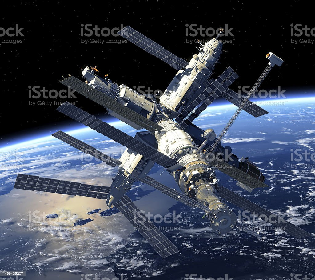 Space Station Orbiting Earth stock photo