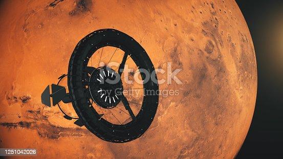 Space station orbiting Mars.  Texture: https://trek.nasa.gov/mars/index.html#v=0.1&x=65.52245971527248&y=6.767577998760544&z=1&p=urn%3Aogc%3Adef%3Acrs%3AEPSG%3A%3A104905&d=
