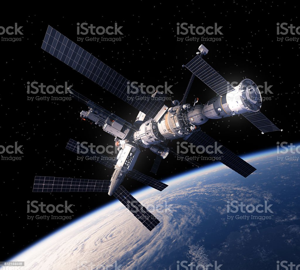 Space Station Over The Earth stock photo