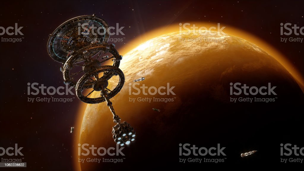 Space station Space station above planet rendered in 3d Adventure Stock Photo