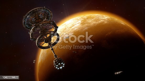 Space station above planet rendered in 3d
