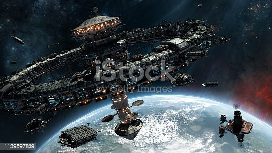 Space stations above planet.