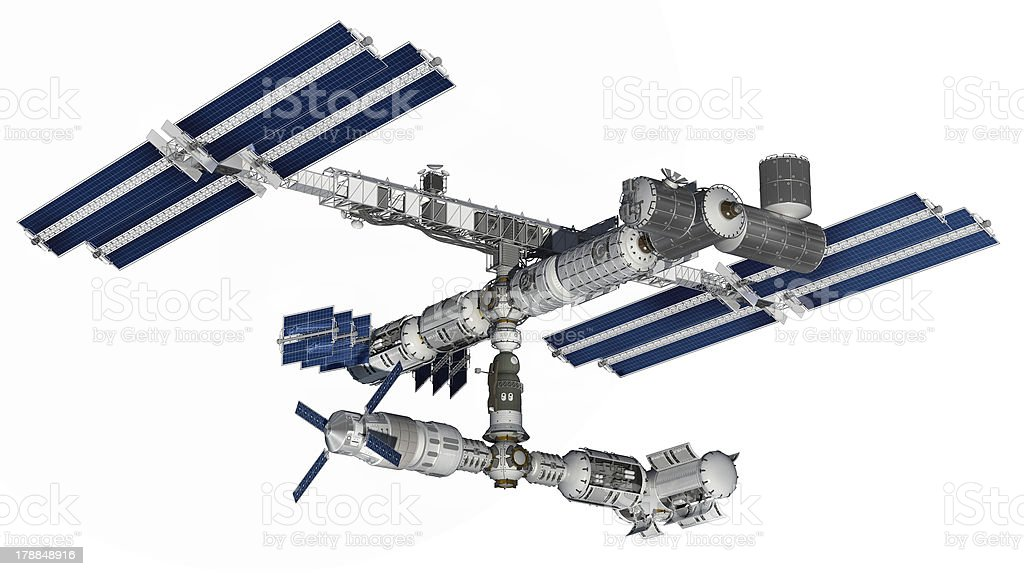 Space station satellite with isolation path on white stock photo