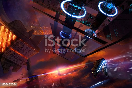 istock Space station with futuristic ships. 826482524