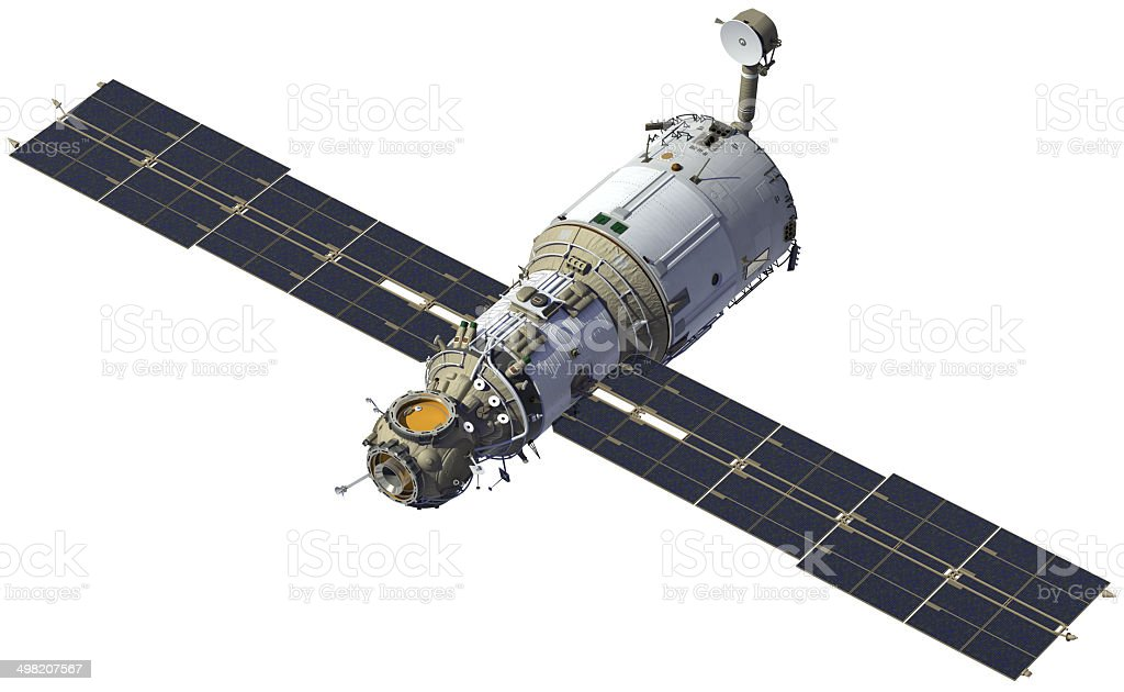 Space Station With Solar Panel Open. stock photo