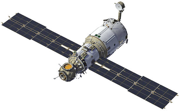 stazione spaziale con pannello solare aperto. - esplorazione spaziale foto e immagini stock