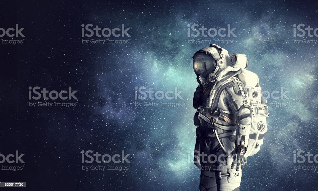Space suit design. Mixed media stock photo