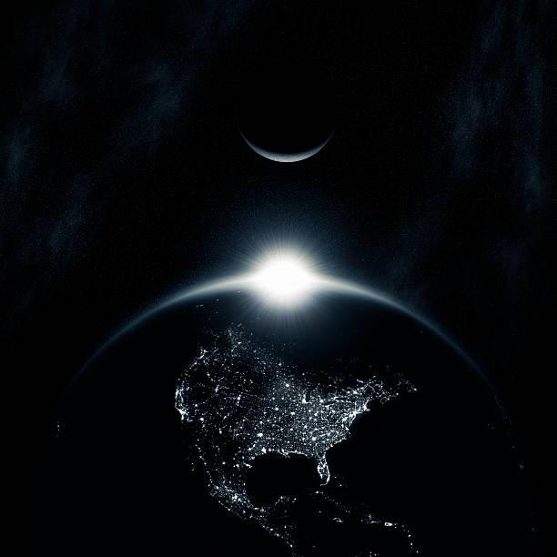 space sunrise (north america) xxl - earth from space bildbanksfoton och bilder