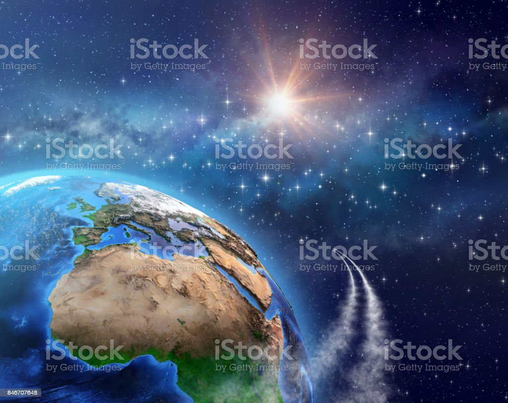 Space travel - Orbiting the Earth stock photo