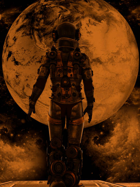 Space traveler looking a big planet in deep space stock photo