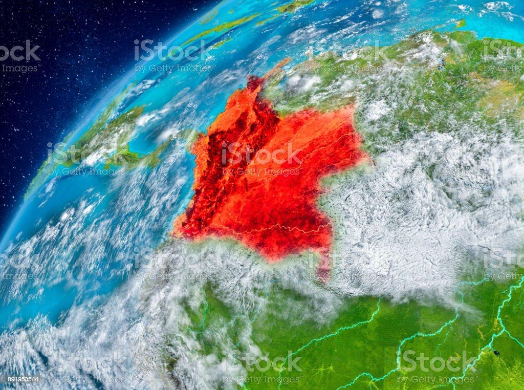 Raum-Blick von Kolumbien in rot – Foto