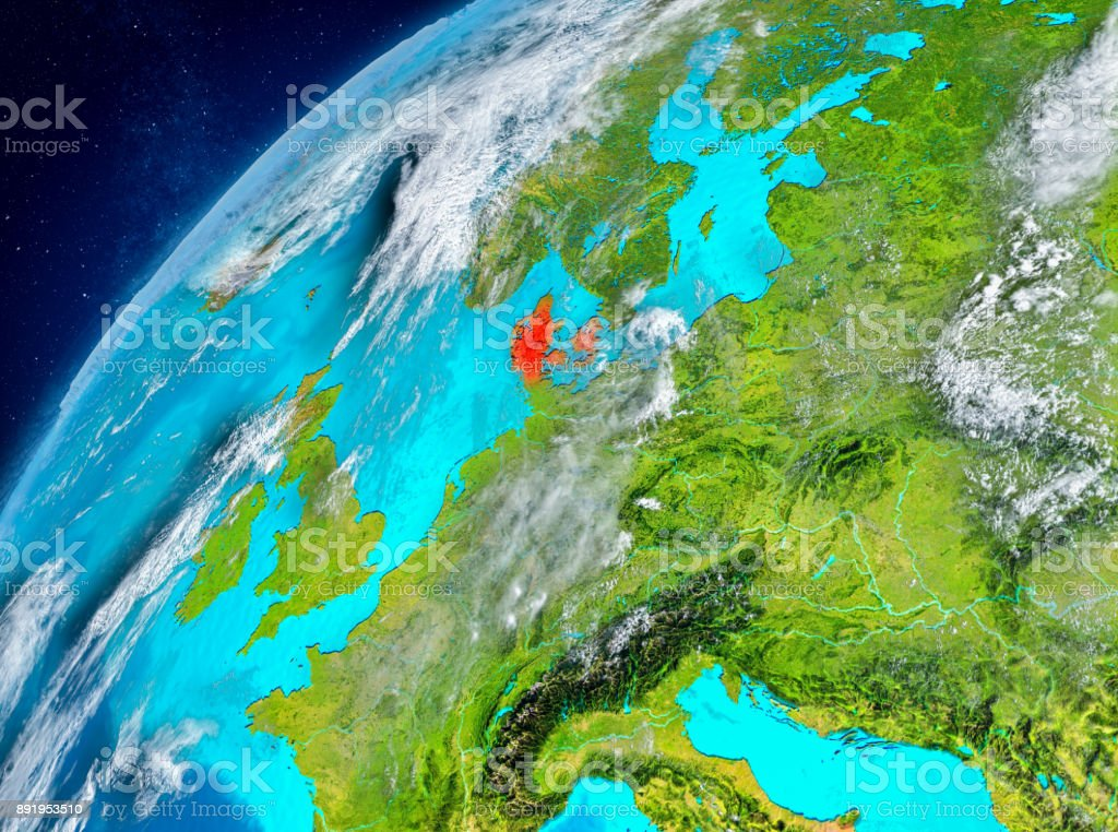 Space view of Denmark in red stock photo