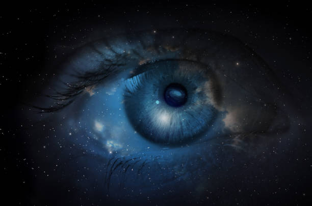 Space with human eye. stock photo