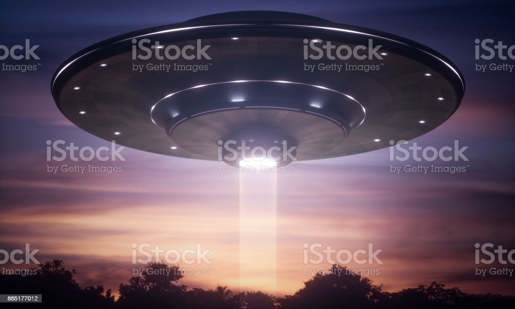 Spacecraft Alien Tractor Beam stock photo