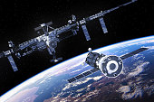 istock Spacecraft Is Preparing To Dock With International Space Station 646851776
