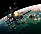 istock Spacecraft Is Preparing To Dock With Space Station 647250816