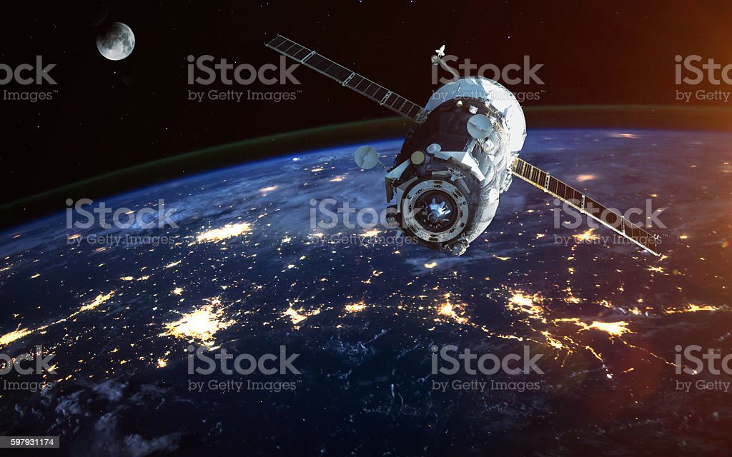 Spacecraft Launch Into Space. Elements of this image furnished by - Royalty-free Aerospace Industry Stock Photo