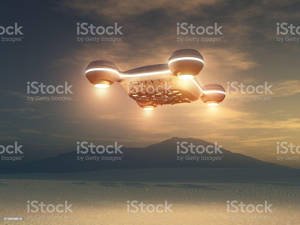 Spacecraft over a desert area – Foto