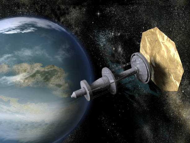 Spacecraft with solar sail near a planet stock photo