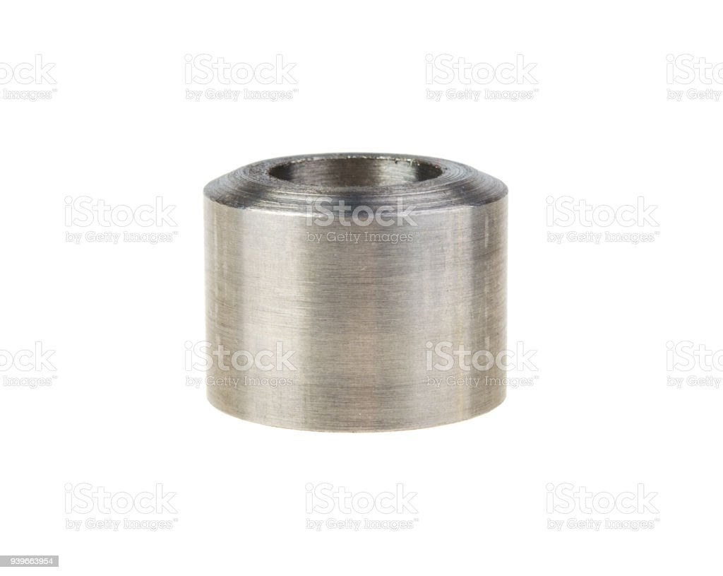 spacer metal round billet spacer isolated on white background stock photo
