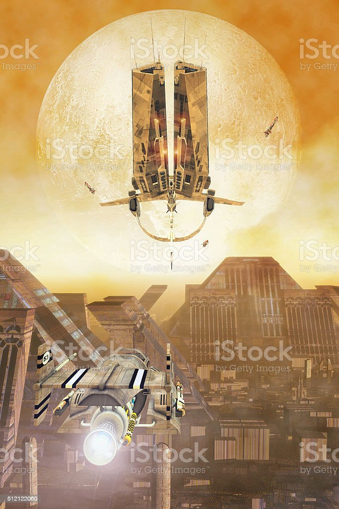 Spaceship and futuristic city stock photo