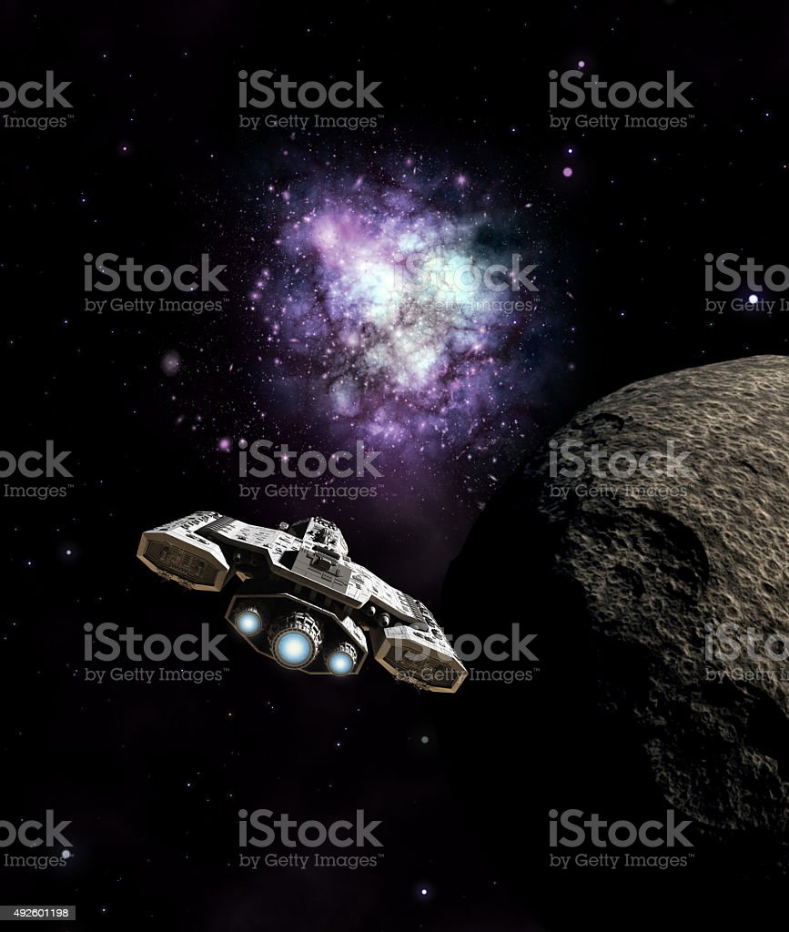 Spaceship Approaching the Galactic Core stock photo