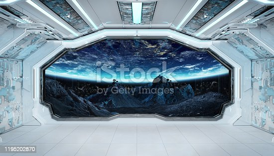 Spaceship black corridor with view on space and planet Earth 3D rendering elements of this image furnished by NASA