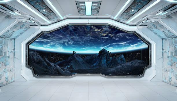 raumschiff schwarzer korridor mit blick auf den weltraum und planet erde 3d rendering-elemente dieses bildes von der nasa eingerichtet - eingangshalle wohngebäude innenansicht stock-fotos und bilder