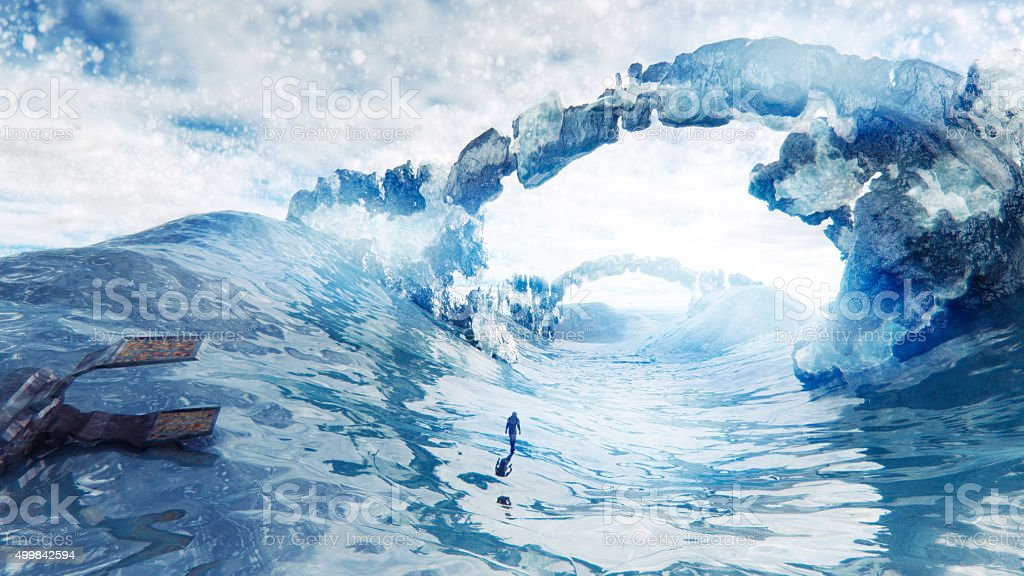Spaceship breakdown on cold, icy planet stock photo