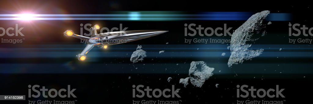 spaceship flying through asteroid field lit by the Sun stock photo
