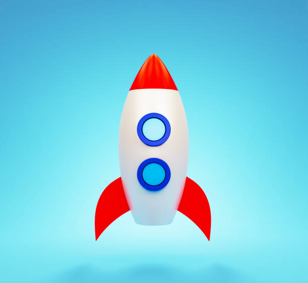 Spaceship front view on the blue background. Successful concept of startup. 3d render illustration. stock photo