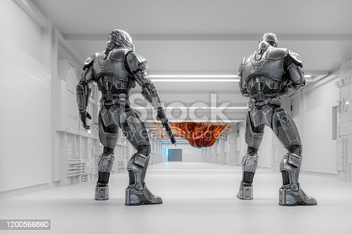 Spaceship futuristic cyborg soldiers against alien intruder. 3D generated image.