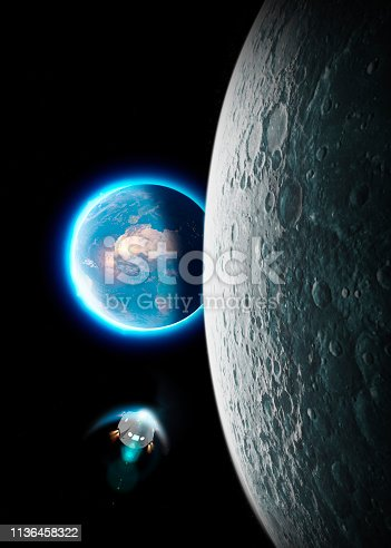istock Spaceship in space exploration towards the moon. The earth seen from the moon. 50th anniversary of the lunar landing 1136458322