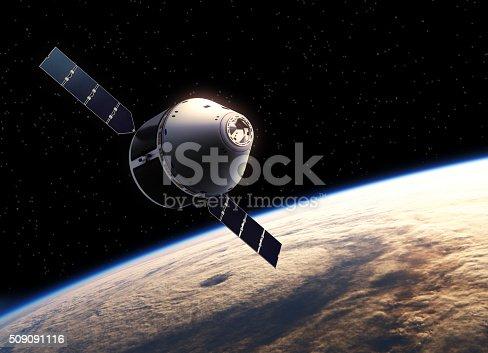 Spaceship In Space. 3D Scene.