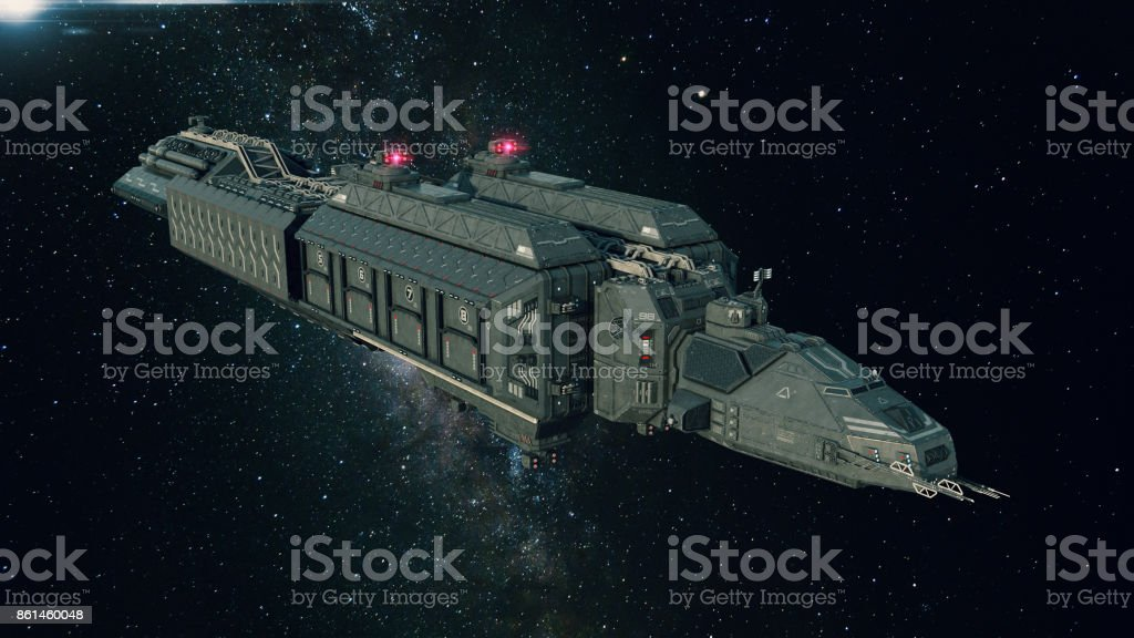 Spaceship In Space Spacecraft Flying Through The Universe