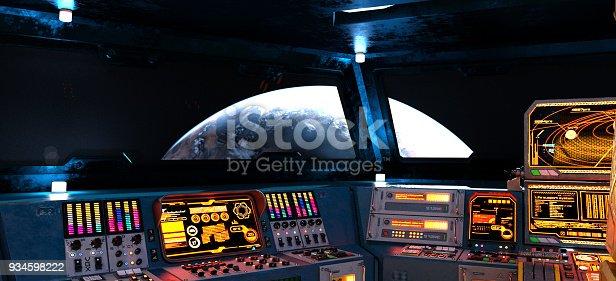 Futuristic interior of a spaceship