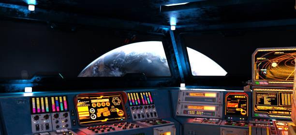 intérieur du vaisseau spatial avec vue sur terre - vaisseau spatial photos et images de collection