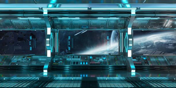 raumschiff-innenraum mit blick auf raum und entfernte planeten system 3d-rendering - eingangshalle wohngebäude innenansicht stock-fotos und bilder