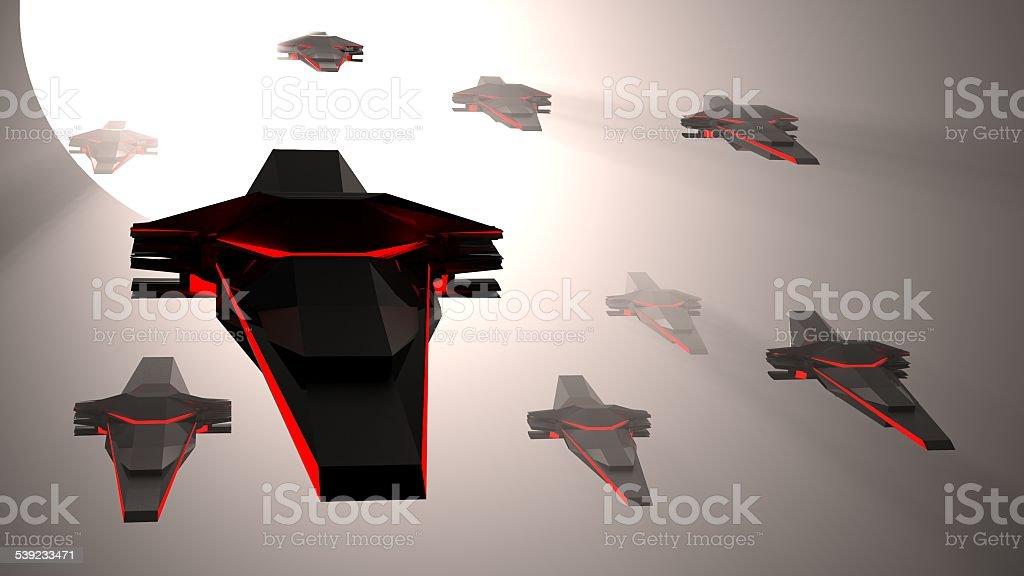 Spaceship invasion royalty-free stock photo
