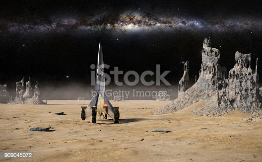 istock spaceship landed on surface of an alien planet, landscape with strange rock formations (3d illustration) 909045072