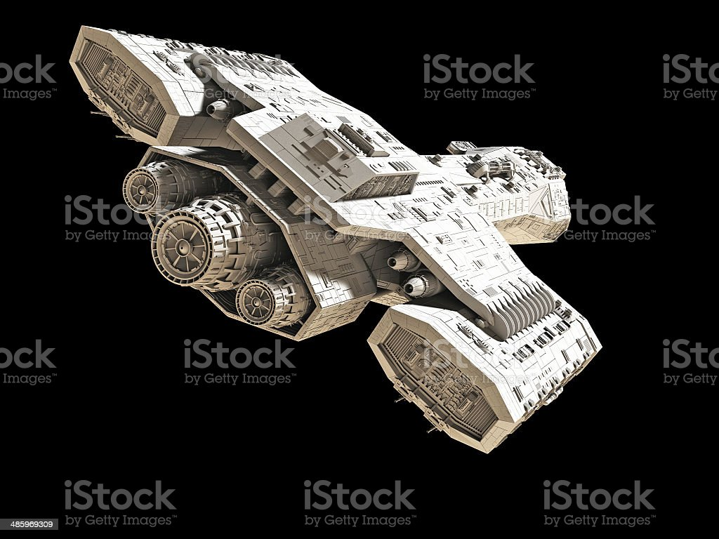 Spaceship on black - rear angled view stock photo