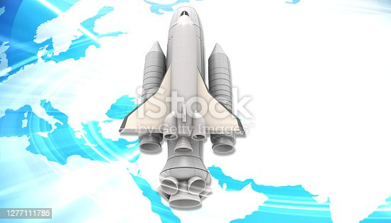 Spaceship on earth. 3d illustration