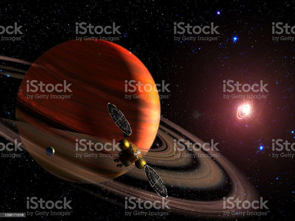 土星惑星の軌道上の宇宙船空間の探査sfの壁紙nasaによって提供されたこの画像の要素 アメリカ合衆国のストックフォトや画像を多数ご用意 Istock